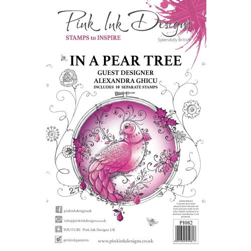 Pink Ink  A5 In A Pear Tree Clear Stamp Set